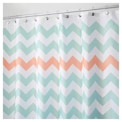 Shower Curtain Polyester Chevron Standard Turquoise Coral