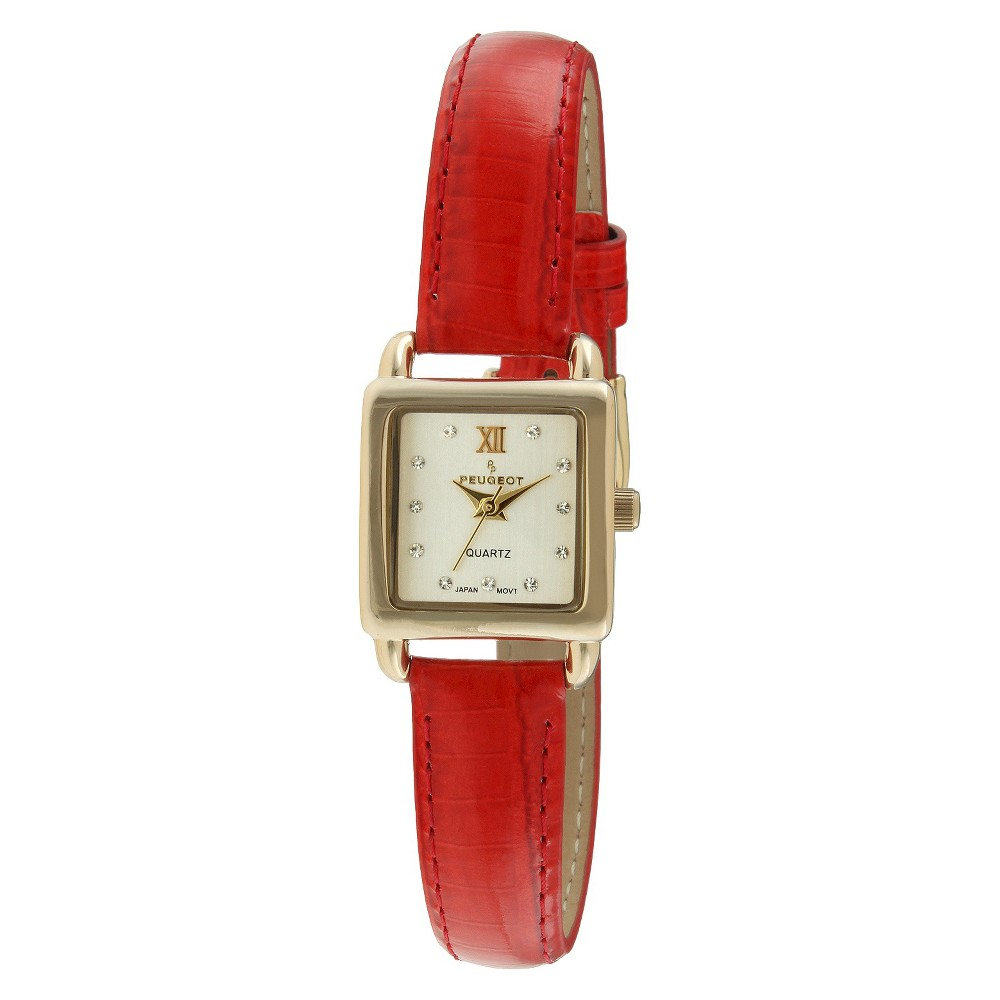 Women's Peugeot Mini Square Crystal Marker Leather Strap Watch - Gold and Red Featuring a leather band, this beautiful watch is truly a stylish way to keep time. This dress timepiece features an analog time display. Color: Red. Gender: Female. Age Group: Adult.