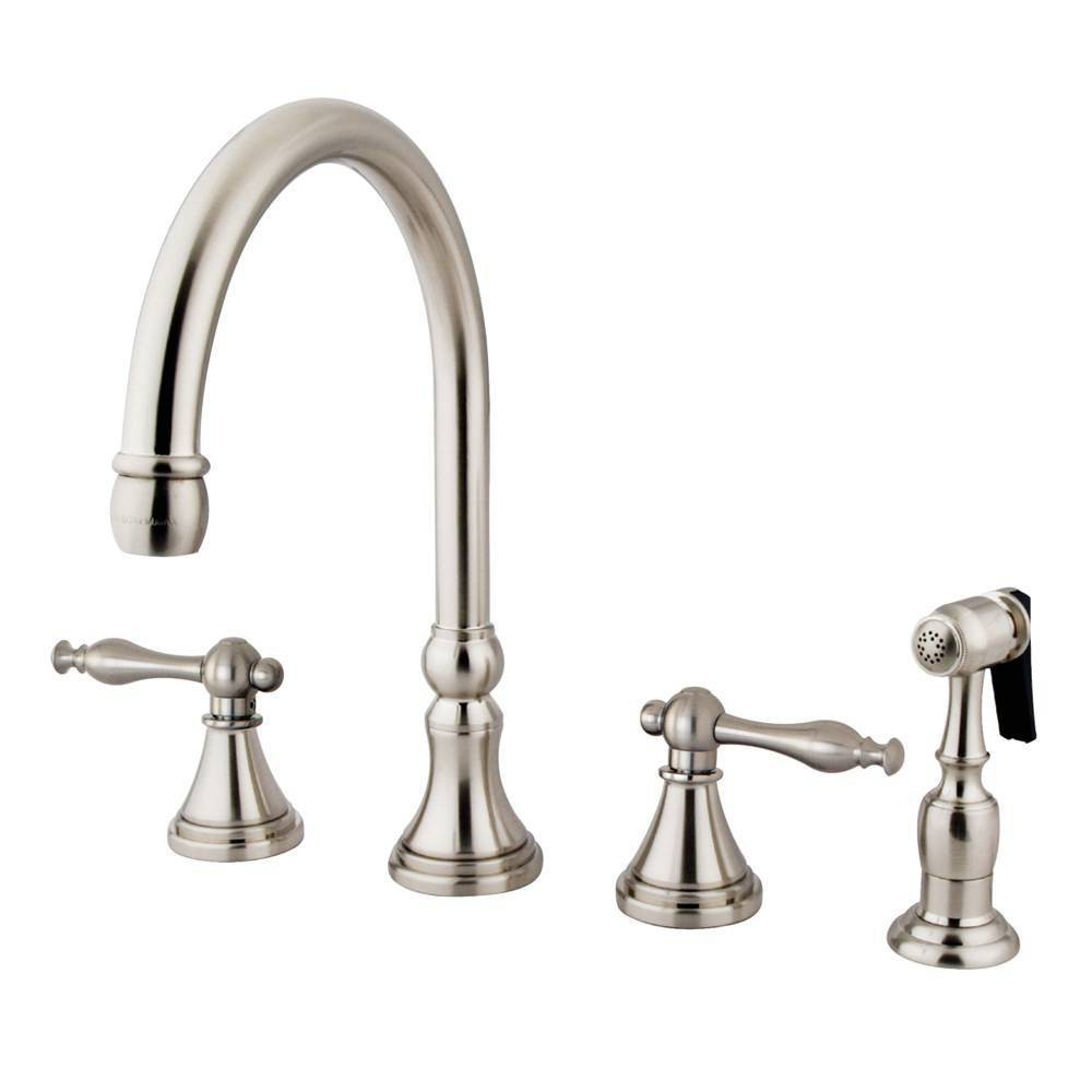 Image of Widespead 4-Hole Solid Brass Kitchen Faucet Satin Nickel - Kingston Brass