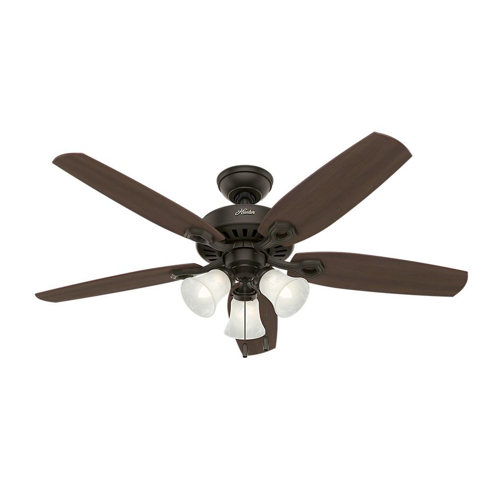"Image of ""52"""" Builder Plus LED Lighted Ceiling Fan Bronze - Hunter Fan"""