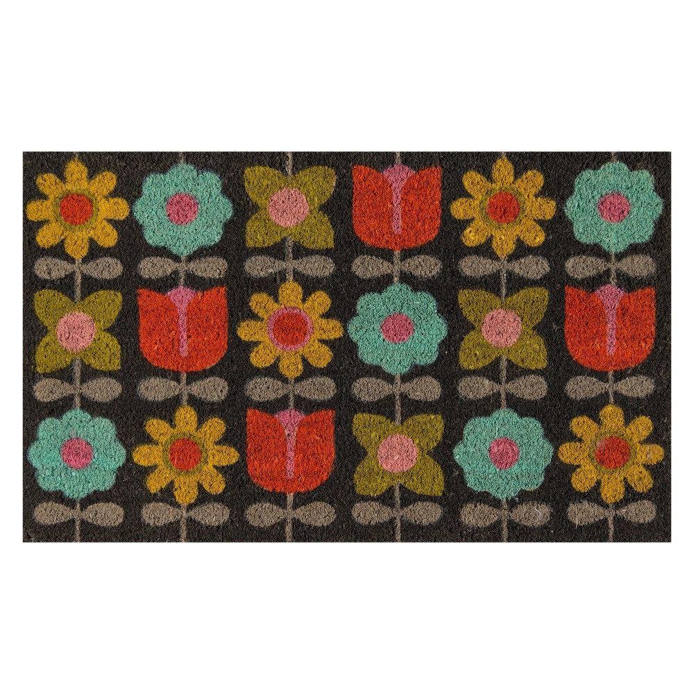 "Image of ""1'6""""x2'6"""" Floral Woven Door Mat - Novogratz By Momeni, Multi-Colored"""
