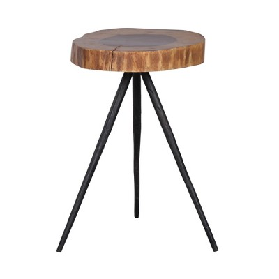 Tall Farrin Side Table In Solid Acacia Wood Brown/Black - A&B Home