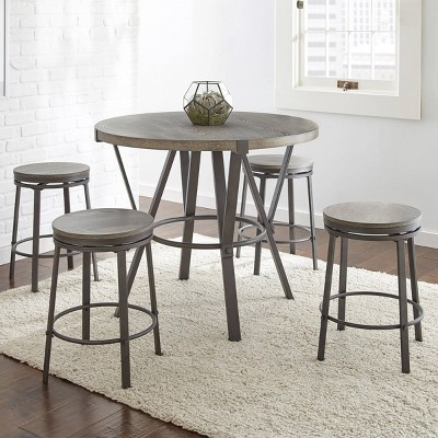 5pc Portland Counter Height Dining Set Gray - Steve Silver