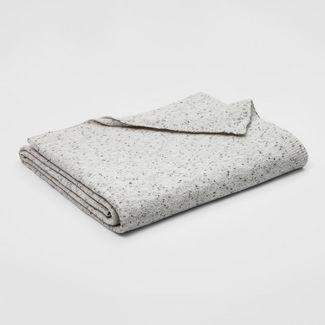 Full/Queen Marled Chenille Bed Blanket Light Gray - Threshold™