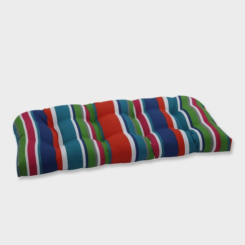 St. Lucia Stripe Wicker Outdoor Loveseat Cushion Blue - Pillow Perfect - image 1 of 2