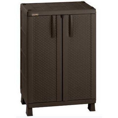 Resin Rattan Compact Cabinet Brown - Inval