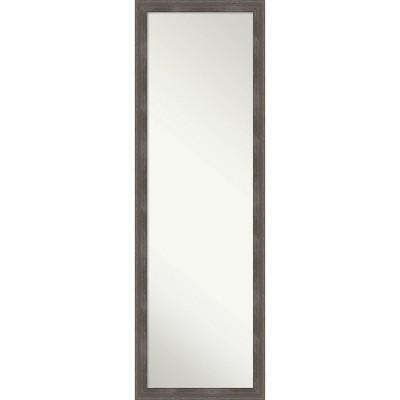 "17"" x 51"" Pinstripe Wood Framed Full Length On the Door Mirror Lead Gray - Amanti Art"