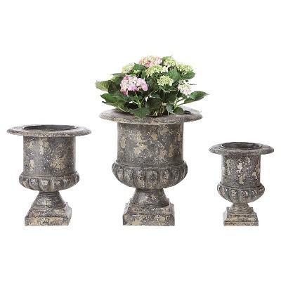 Set of 3 Black Metal Urns