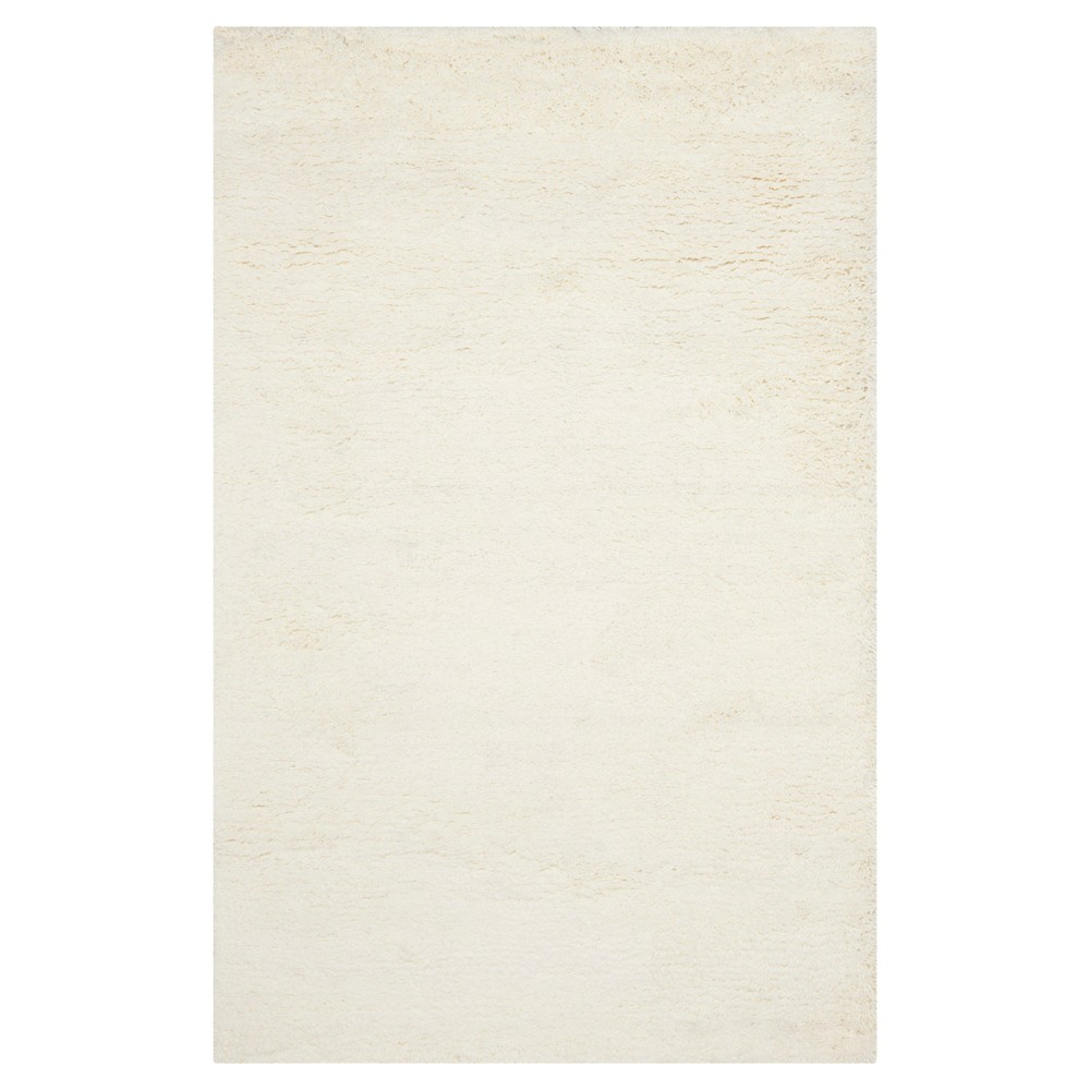 White Solid Shag and Flokati Tufted Accent Rug 2'3X4' - Safavieh