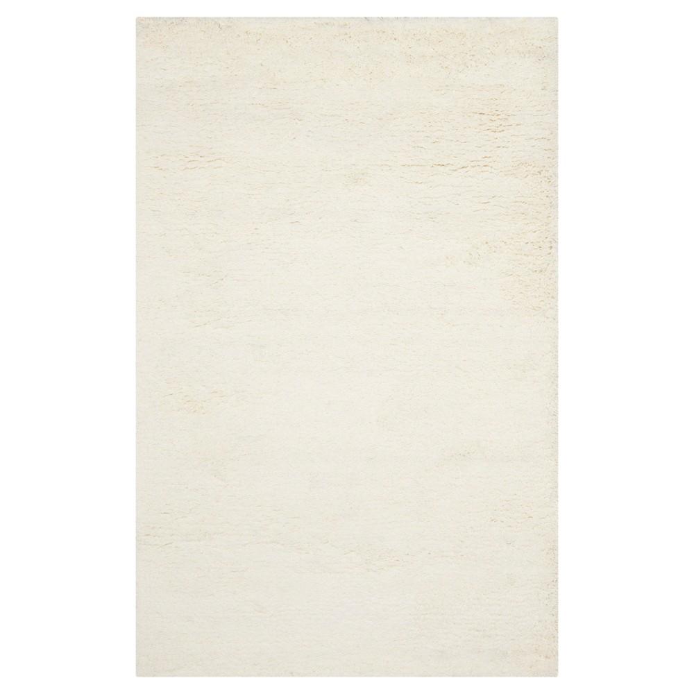 White Solid Shag and Flokati Tufted Area Rug 7'6