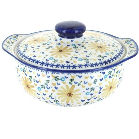 Blue Rose Polish Pottery Yellow Daisy Round Covered Baker - image 1 of 1