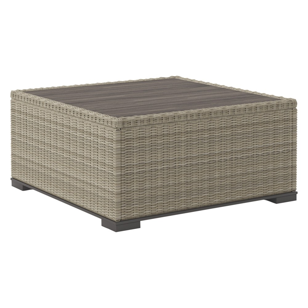 Silent Brook Square Cocktail Table - Beige - Outdoor by Ashley