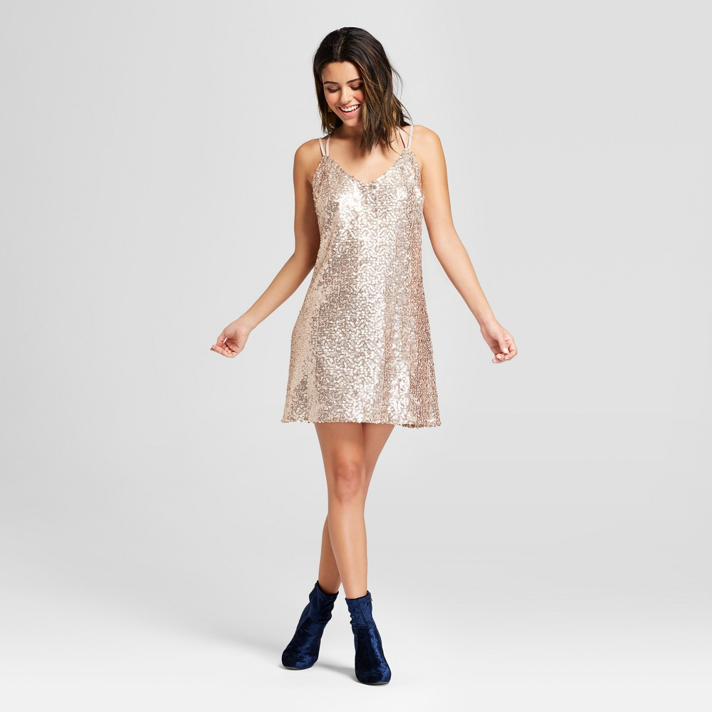 Women's Strappy Y Back Sequin Mesh Dress - Xhilaration Gold M