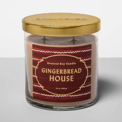 15.1oz Lidded Glass Jar 2-Wick Candle Gingerbread House - Opalhouse™
