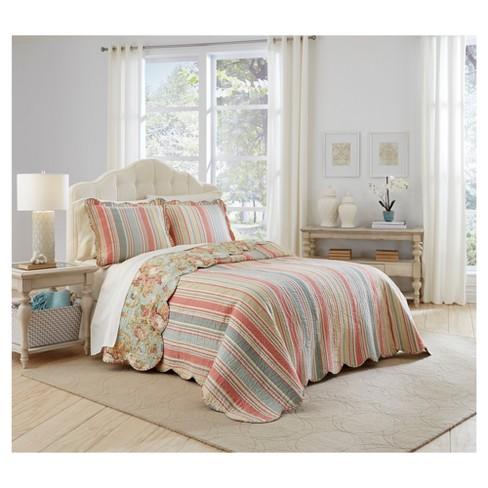 80c2fda2075b9 Floral Stripe Spring Bling Bedspread Set 3pc - Waverly® : Target