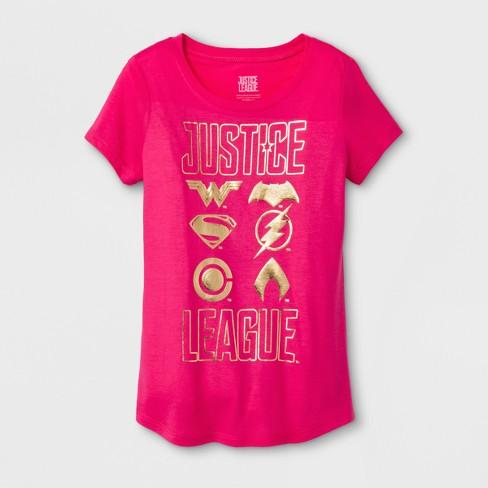 c57e9a3ca7c3c Girls  DC Comics Justice League Shields Short Sleeve T-Shirt - Fuchsia