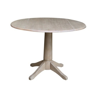 Alexandra Round Dual Drop Leaf Pedestal Table Washed Gray Taupe - International Concepts