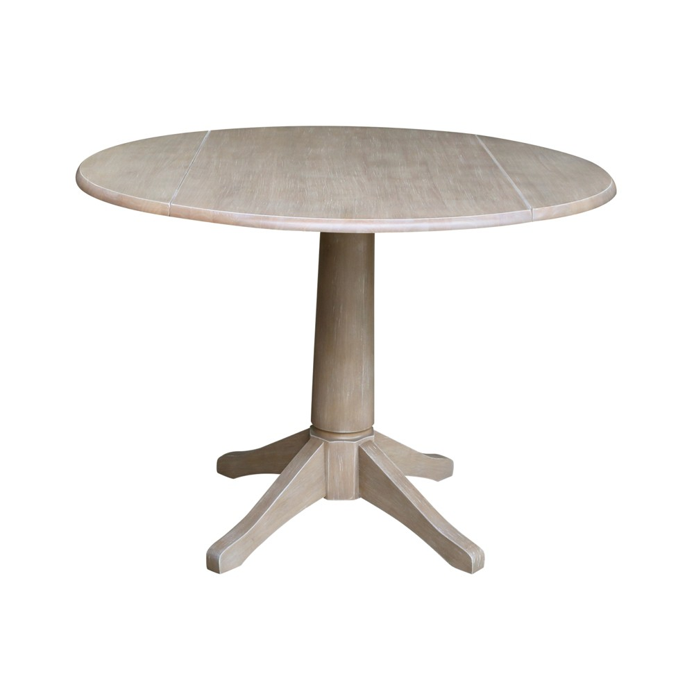 """Image of """"30.3"""""""" Alexandra Round Dual Drop Leaf Pedestal Table Washed Gray Taupe - International Concepts"""""""