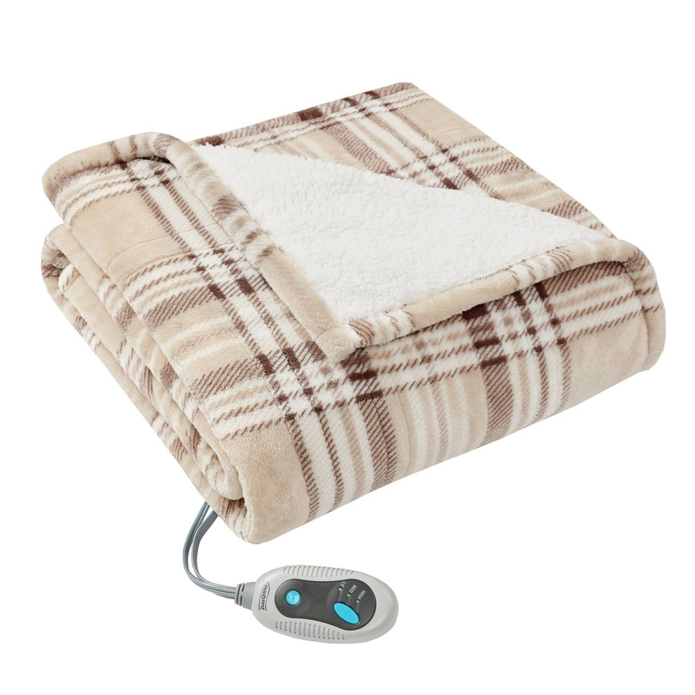"Image of ""50"""" x 64"""" Plaid Sherpa Electric Throw Wrap Tan"""