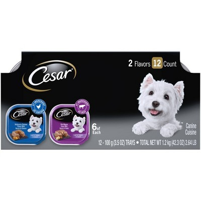Cesar Loaf & Topper in Sauce Rotisserie Chicken & Filet Mignon Flavors Wet Dog Food - 3.5oz/12ct Variety Pack