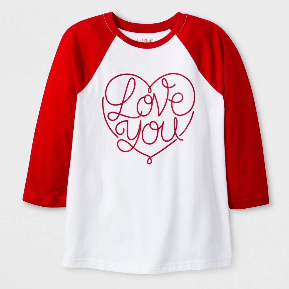 Kids' 3/4 Sleeve 'Love You' Baseball T-Shirt - Cat & Jack White S, Kids Unisex
