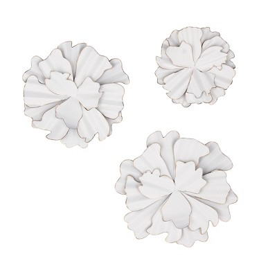 Set of 3 Eclectic Flower Wall Decors White - Olivia & May