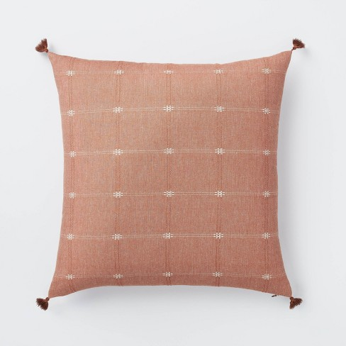 Woven Dobby Square Throw Pillow with Corner Tassels Red/Cream - Threshold™ designed with Studio McGee - image 1 of 4