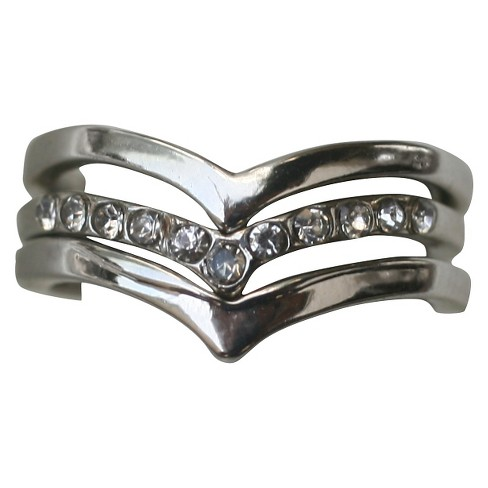 Zirconite Knuckle Chevron Ring with Crystal Accents - Silver - image 1 of 1