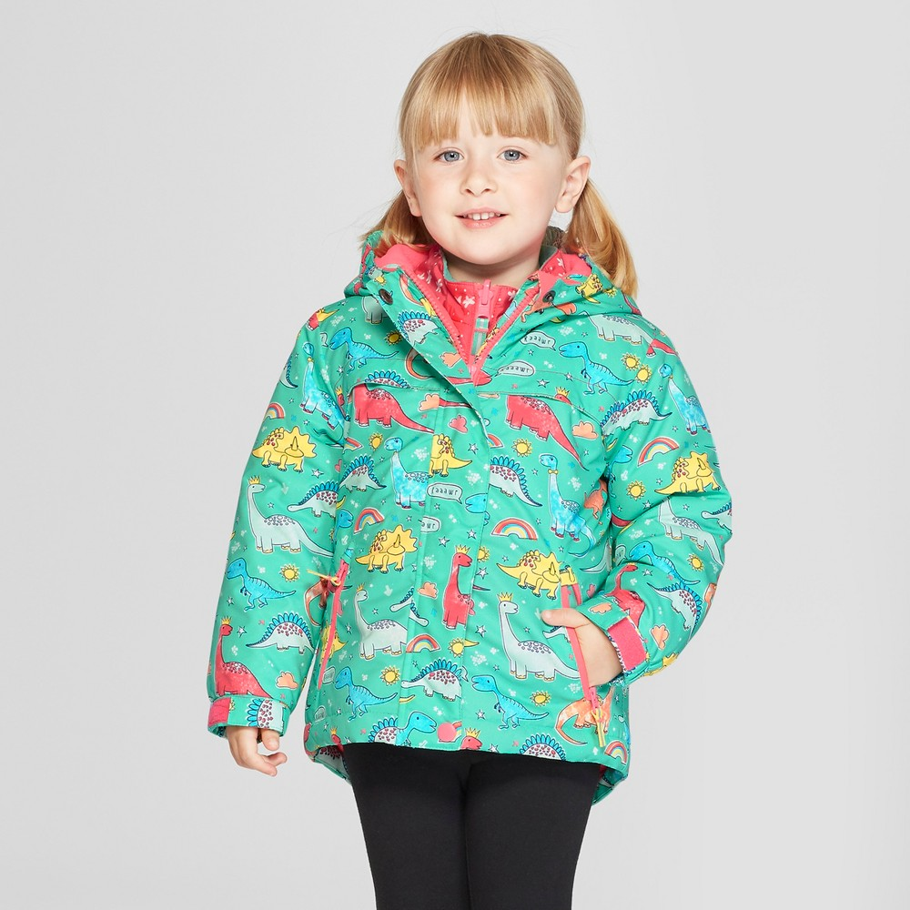 Toddler Girls' Dinosaur 3-in-1 Jacket - Cat & Jack Aqua 6, Blue