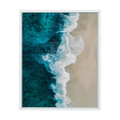 "18"" x 24"" Sylvie Emerald Beach Framed Canvas By Amy Peterson White - DesignOvation"
