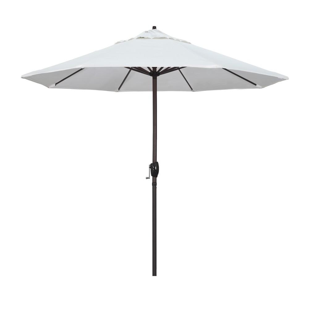 Image of 9' Aluminum Auto Tilt Crank Lift Patio Umbrella - White