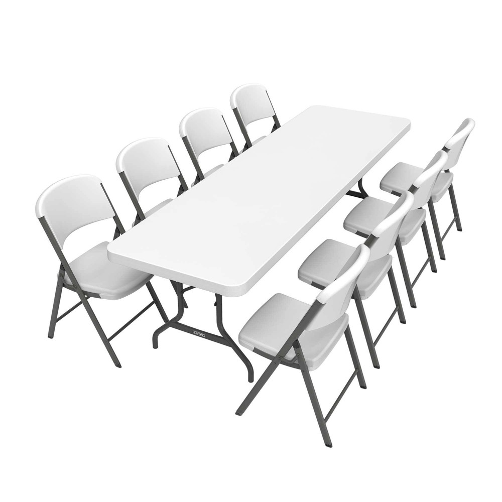 Image of Folding Table with 8 Chairs White - Lifetime