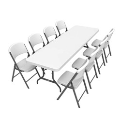 Folding Table with 8 Chairs White - Lifetime