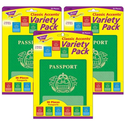 3pk 36 per Pack Passports Classic Accents Variety Pack - TREND