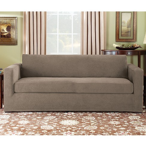 Stretch Pique 3 Piece Sofa Slipcover Taupe Sure Fit Target
