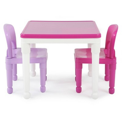 3pc 2 in 1 Square Activity Table with Chairs Pink/Purple - Humble Crew