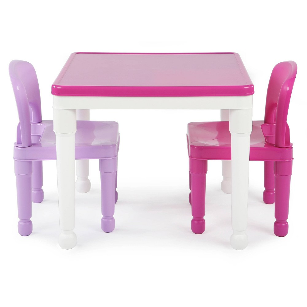 Image of 3pc 2 in 1 Square Activity Table With 2 Chairs - Pink/Purple - Humble Crew
