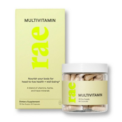 Rae Multivitamin Dietary Supplement Capsules for Whole Body Support and Energy - 60ct