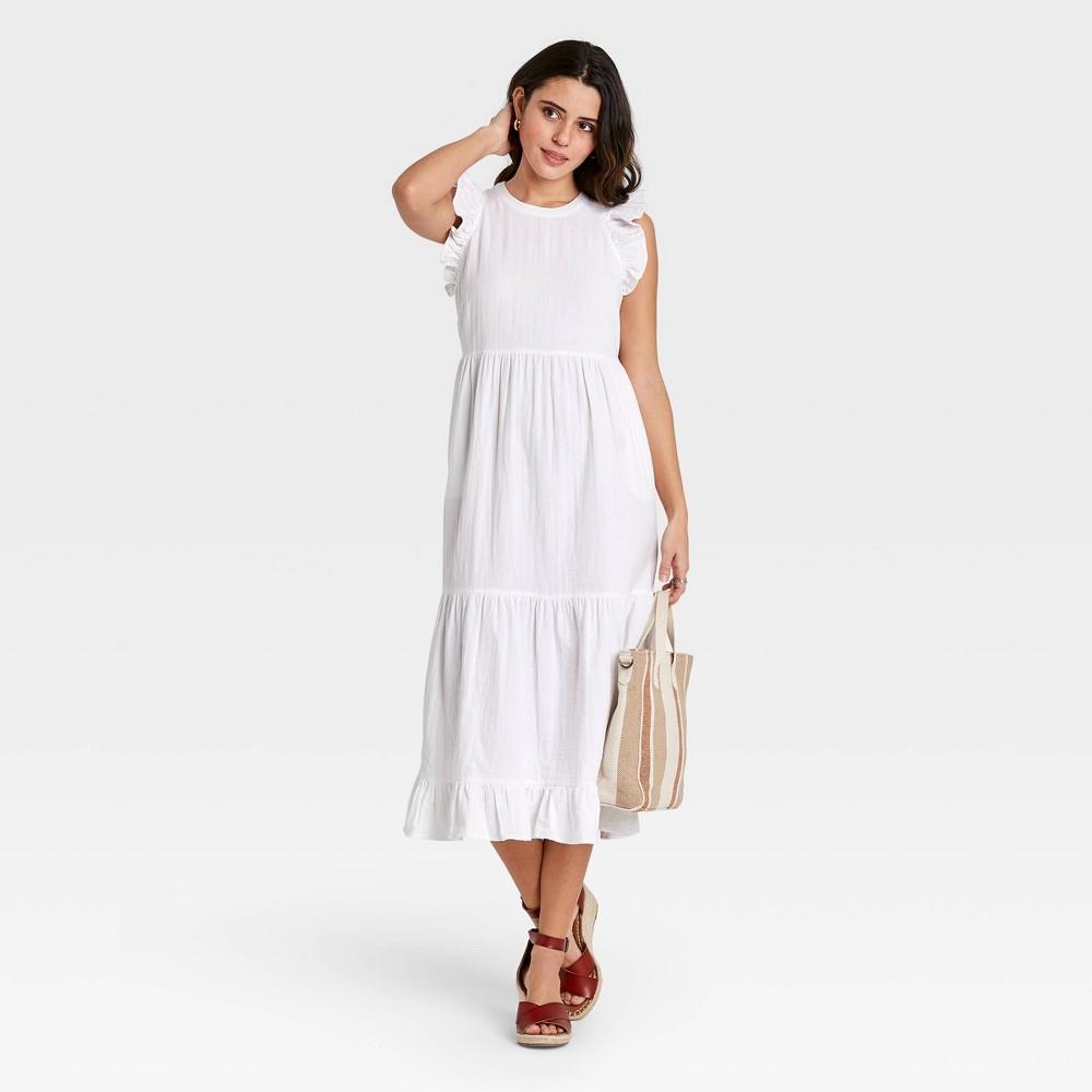 70s Dresses – Disco Dress, Hippie Dress, Wrap Dress Womens Ruffle Sleeveless Tiered Dress - Universal Thread White XXL $34.99 AT vintagedancer.com