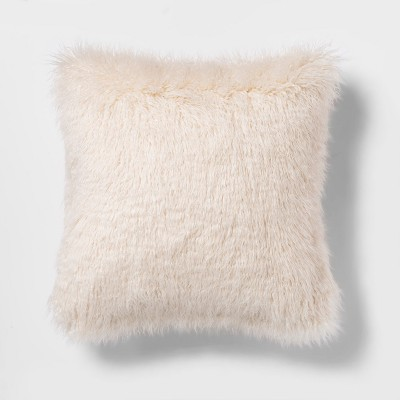 Mongolian Faux Fur Square Throw Pillow Cream - Project 62™