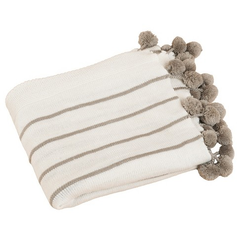 "Ivory Pompon Design Throw (50""X60"") - image 1 of 1"