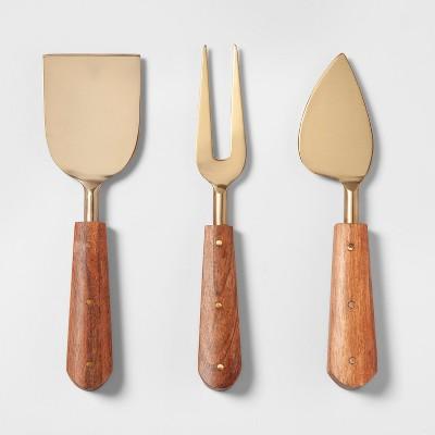 Wood Cheese Knife Set Gold - Threshold™