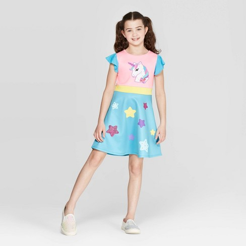 Girls' JoJo's Closet Unicorn Dress - Light Blue/Pink - image 1 of 3
