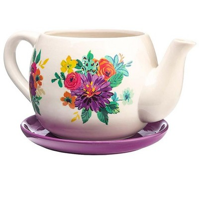 Plow & Hearth Indoor/Outdoor Ceramic Floral Tea Pot Planter with Saucer - Purple