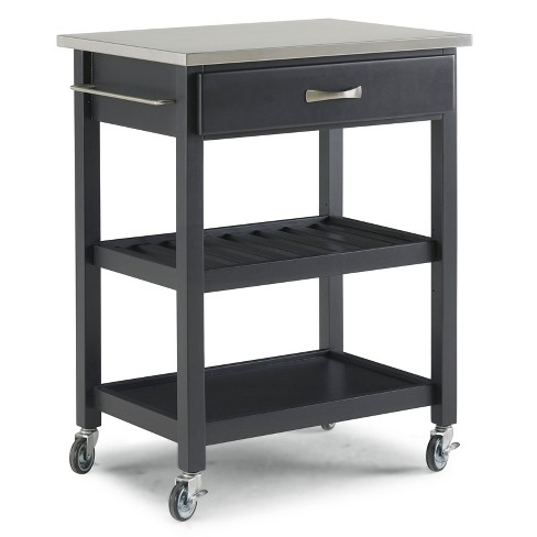 Vineyard Stainless Steel Top Kitchen Cart Black - Home Styles