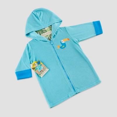 Baby Aspen Boys' Tropical Toucan Hooded Beach Zip-Up - Blue 0-9M