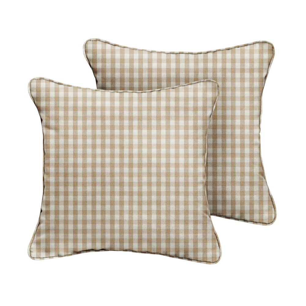 """Image of """"20"""""""" 2pk Corded Outdoor Throw Pillows Beige/White"""""""