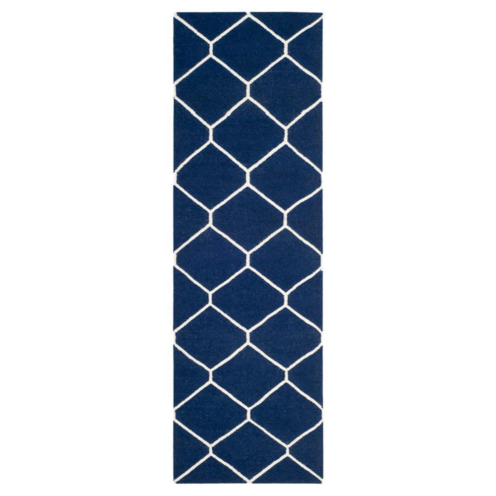 Dhurries Rug - Navy/Ivory (Blue/Ivory) - (2'6x8') - Safavieh
