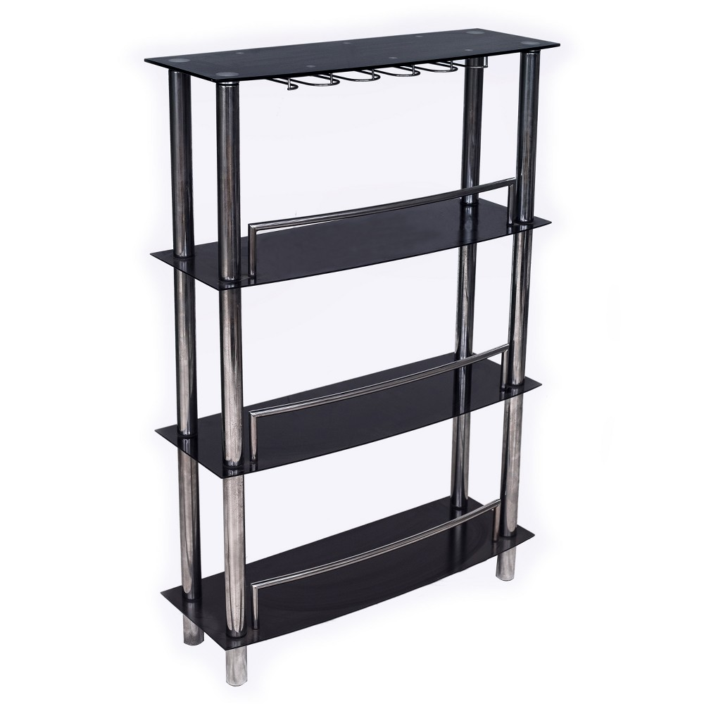 Bar - Glass - Black/Chrome - Home Source Industries