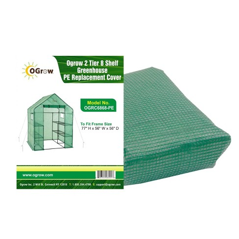 2 Tier 8 Shelf Greenhouse PE Replacement Cover Green - To Fit Ogrow Item OG6868-PE - image 1 of 4